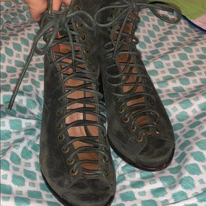 Size 8 Free People- Jeffrey Campbell Olive Bootie